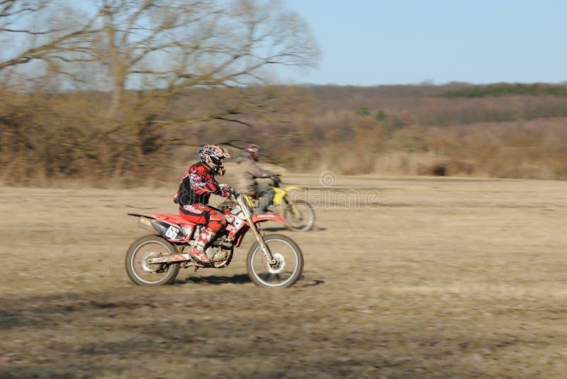 De concurrentie van de motocross stock afbeelding