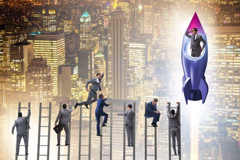 De concurrentieconcept met zakenman op raket royalty-vrije stock foto's