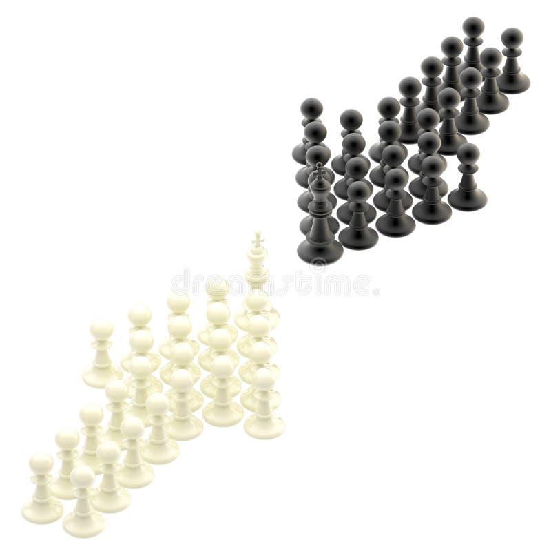 De concurrentiestrategie: tegenovergestelde pijlen van panden royalty-vrije illustratie