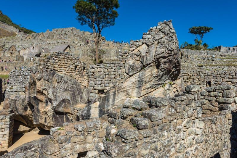 De condortempel Machu Picchu ruïneert de Peruviaanse Andes Cuzco Peru stock fotografie