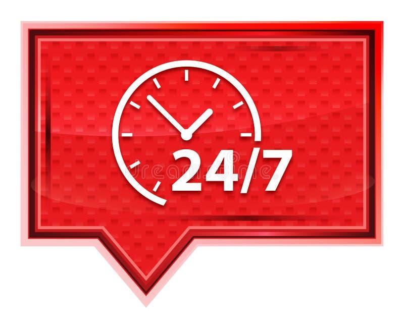 24/7 de ?cone do pulso de disparo enevoado aumentou bot?o cor-de-rosa da bandeira ilustração stock