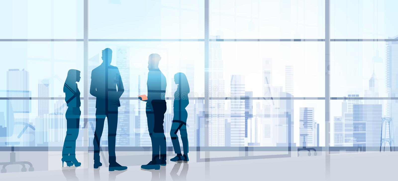 De Conferentiebrainstorming silhouet van Bedrijfsmensenteam stand talking seminar training in Modern Bureau vector illustratie