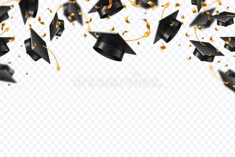De confettien van graduatiekappen Vliegende studentenhoeden met gouden geïsoleerde linten Universiteit, het onderwijsvector van d
