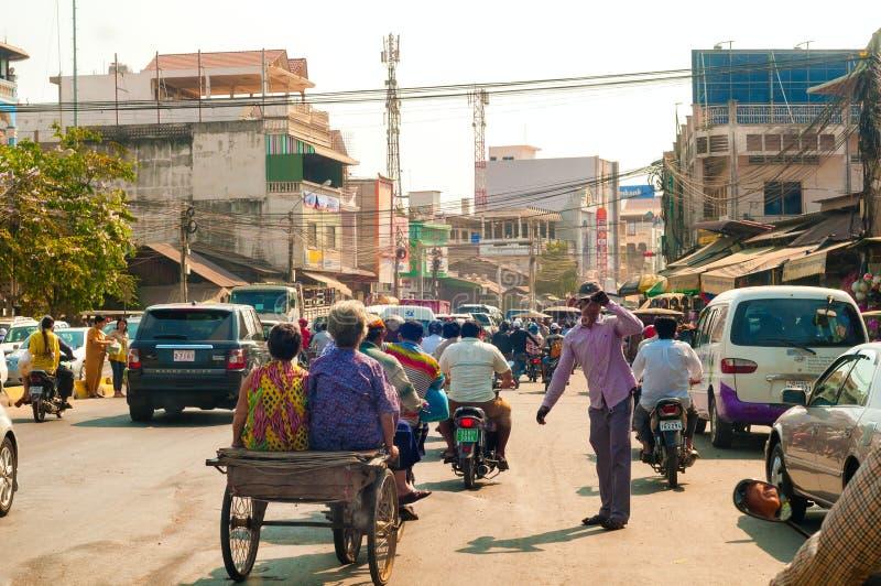 De congestie van Phnompenh stock afbeelding