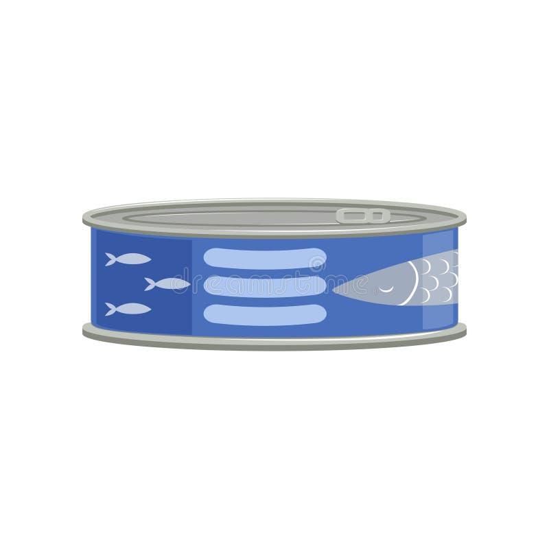 De conserve de thon ou poissons d'esprot dans le récipient en métal avec l'autocollant bleu Marchandises bidon Conception plate d illustration de vecteur