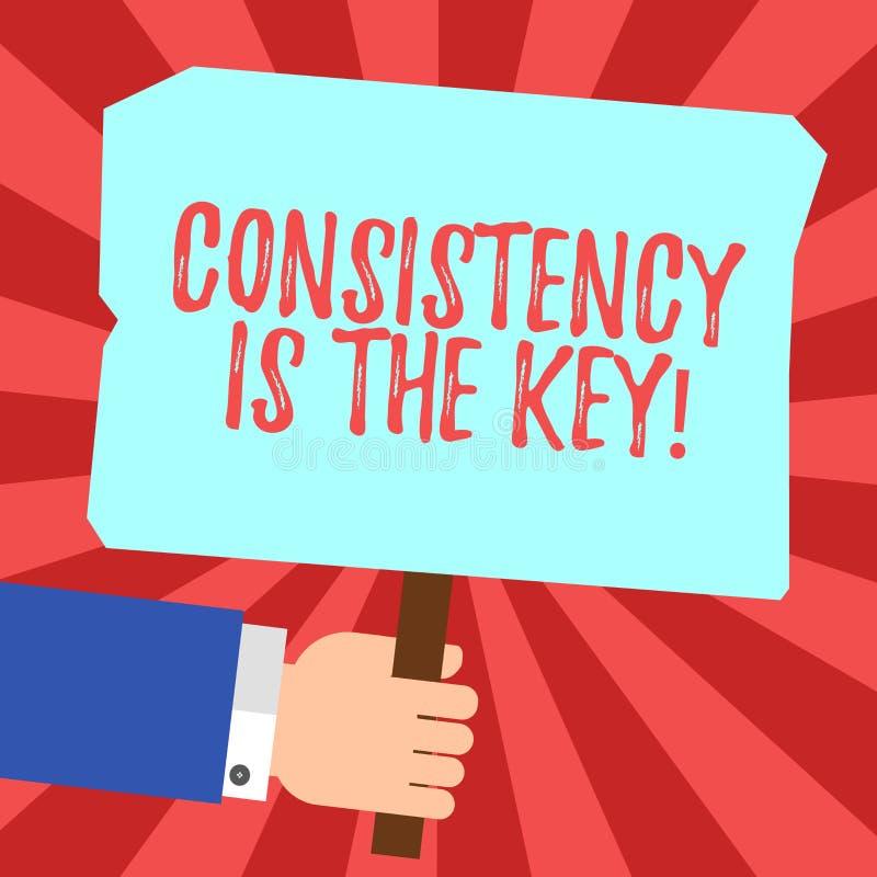 De Consistentie van de handschrifttekst is de Sleutel Concept die Volledige Toewijding betekenen aan een Taak een gewoonte die de stock illustratie