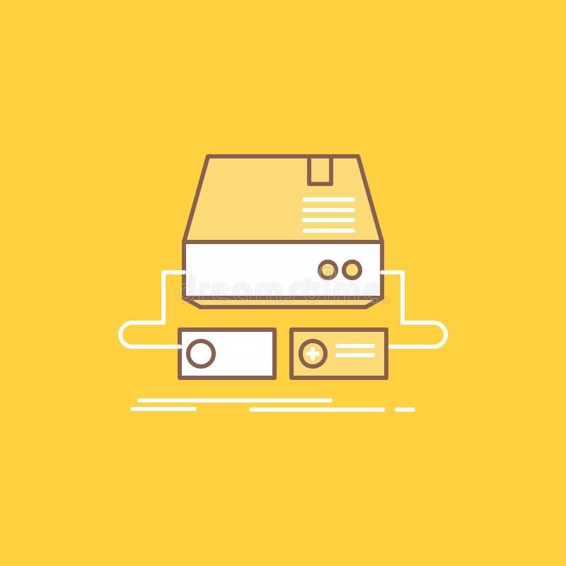 De console, spel, gokken, stootkussen, drijft Vlak Lijn Gevuld Pictogram Mooie Embleemknoop over gele achtergrond voor UI en UX,  vector illustratie