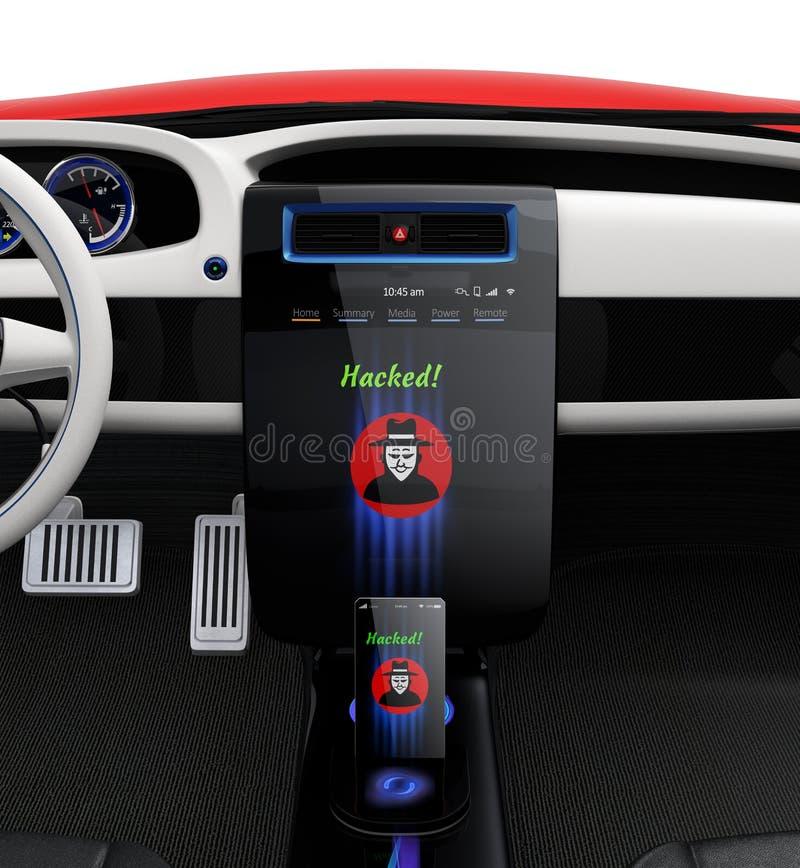 De console van het autocentrum en slim de hakkerpictogram van de telefoonvertoning vector illustratie