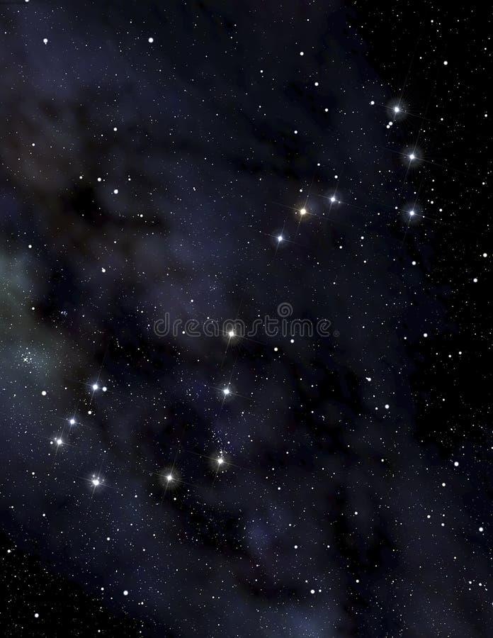 De constellatie van de schorpioen in de nachthemel royalty-vrije illustratie