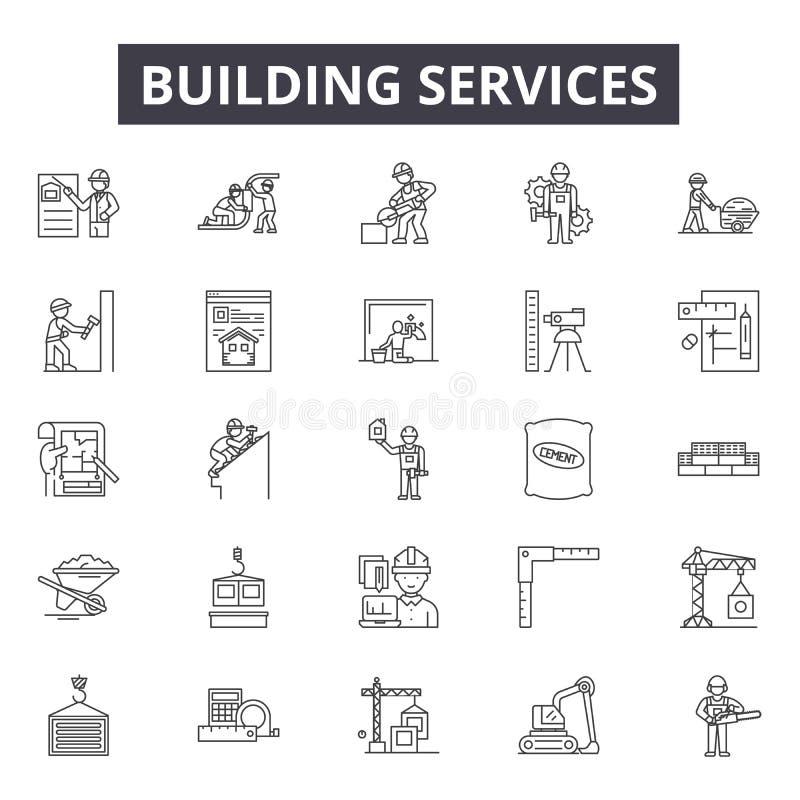 De construction tuyau de service des icônes, signes, ensemble de vecteur, concept d'illustration d'ensemble illustration libre de droits