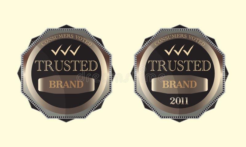 De consumenten stemden over het Vertrouwde op Ontwerp van het Embleem van het Embleem van het Merk vector illustratie