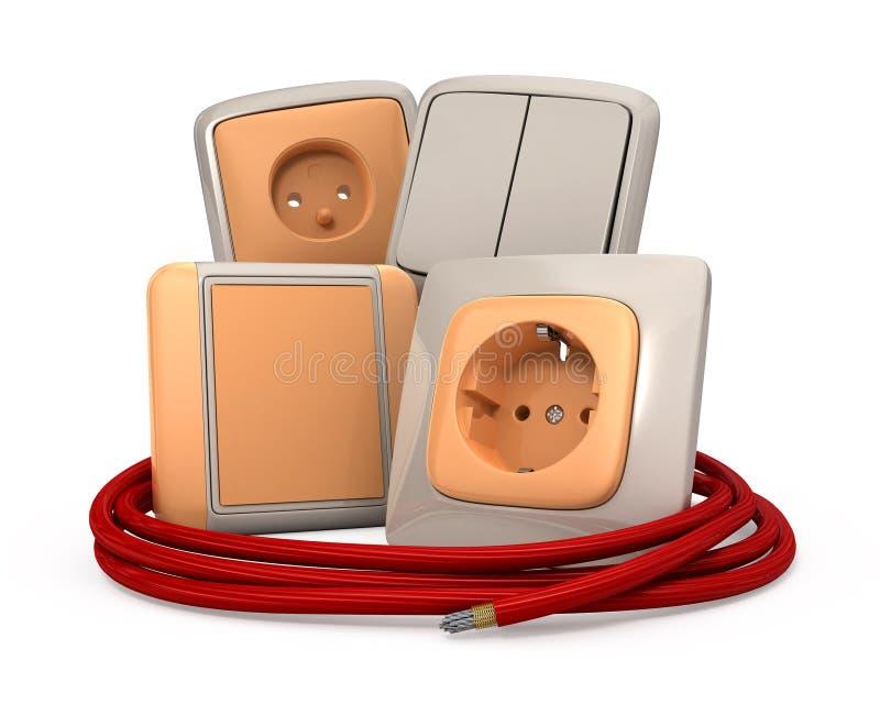 De contactdoos en de kabel van de stop royalty-vrije illustratie