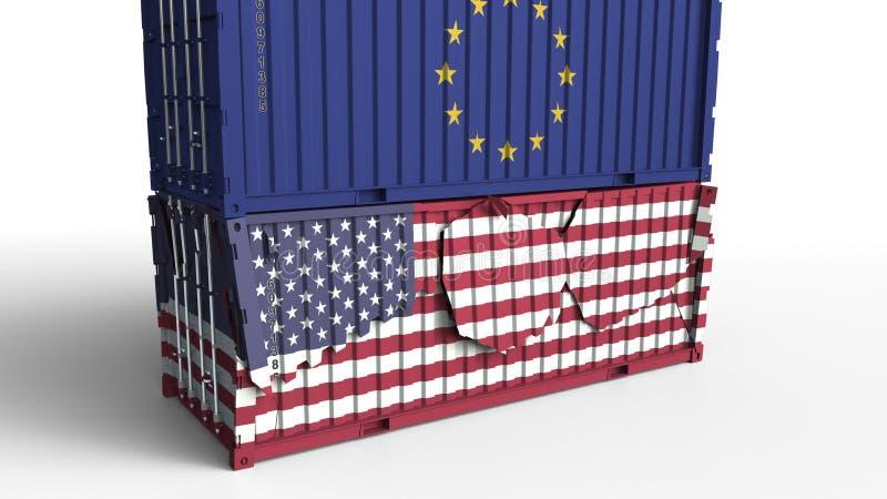De container met vlag van de Europese Unie breekt ladingscontainer met vlag van de V.S. Handelsoorlog of economisch conflict vector illustratie