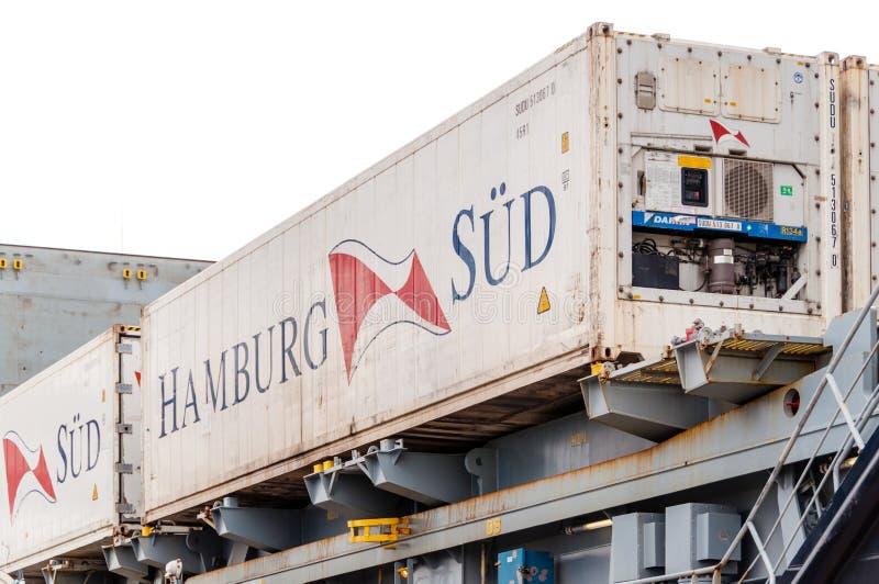 De container van Hamburg Sud royalty-vrije stock afbeeldingen