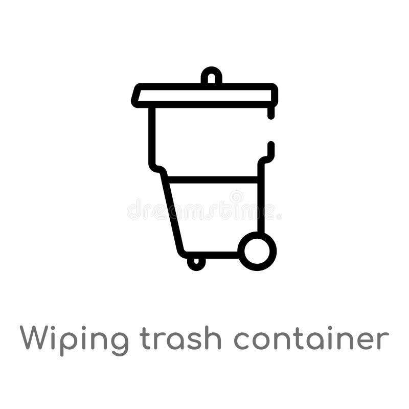 de container vectorpictogram van het overzichts afvegend afval de geïsoleerde zwarte eenvoudige illustratie van het lijnelement v vector illustratie