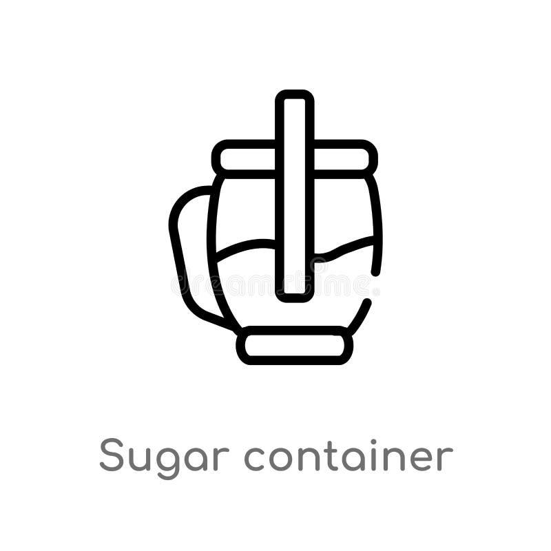 de container vectorpictogram van de overzichtssuiker de ge?soleerde zwarte eenvoudige illustratie van het lijnelement van voedsel stock illustratie