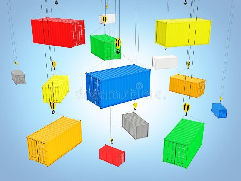 De containers leverings van het achtergrondconceptenvervoer over zee de kraan heft de containers op blauwe 3d op gradiëntachtergr stock illustratie