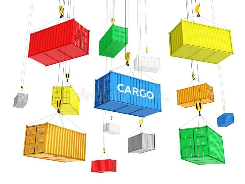 De containers leverings van het achtergrondconceptenvervoer over zee de kraan heft de containers op witte 3d achtergrond op vector illustratie