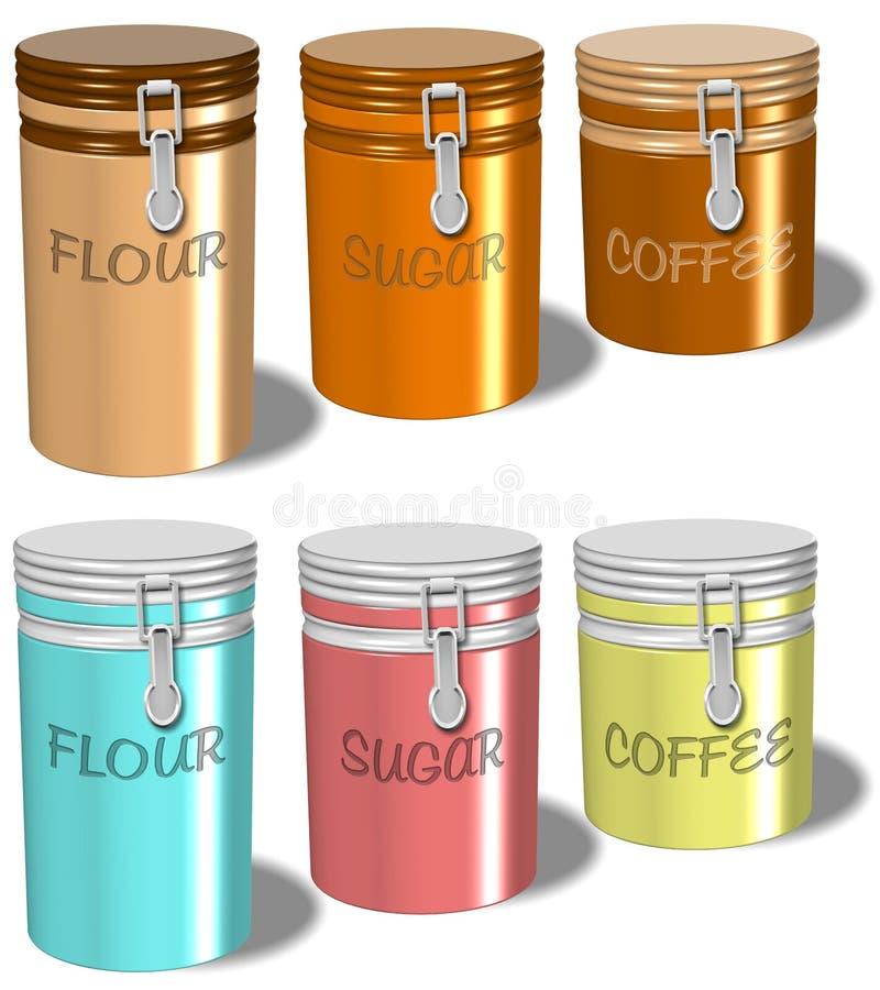 De containers van de de suikerkoffie van de bloem stock illustratie