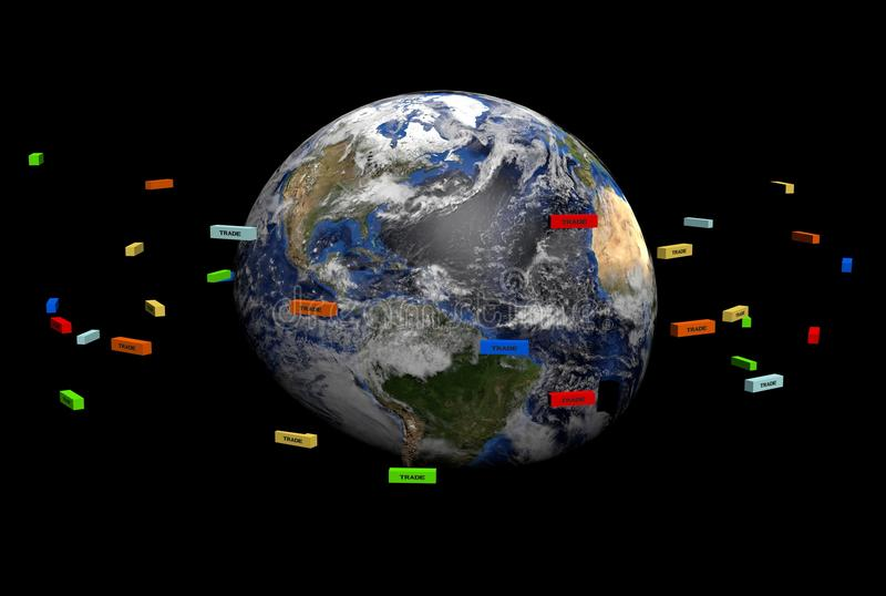 De containers van de handel rond Aarde stock illustratie