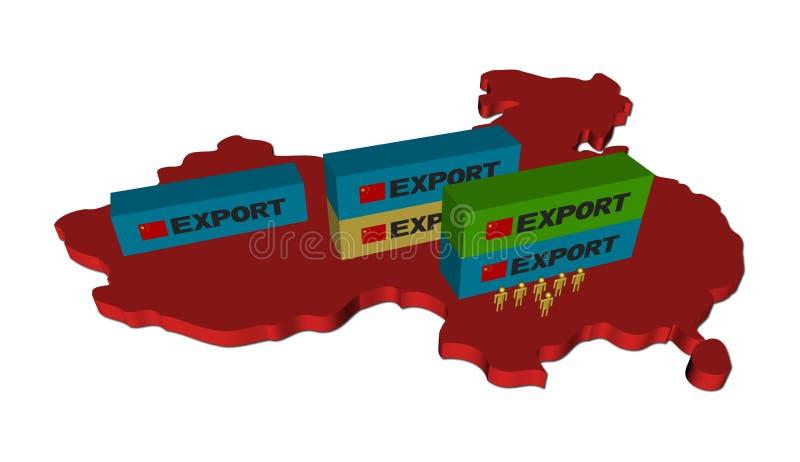 De containers van de uitvoer op de kaart van China vector illustratie