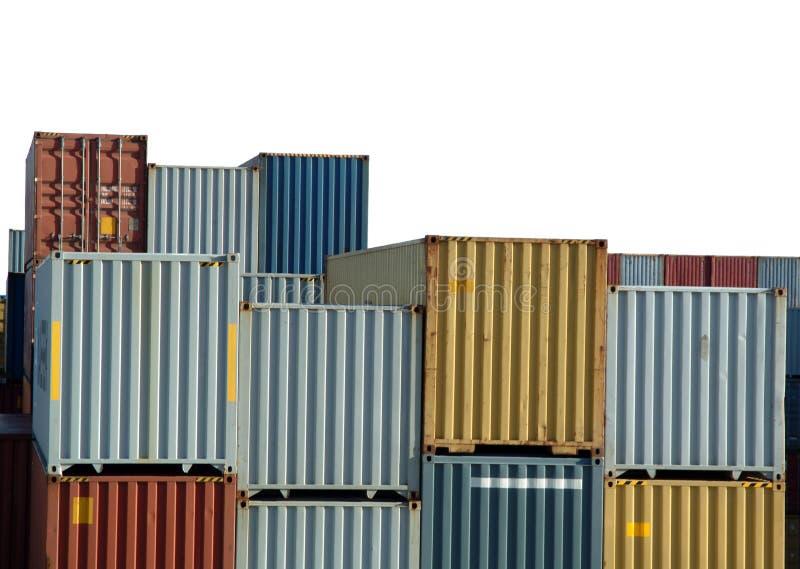 De containers van de vracht op haven stock afbeelding