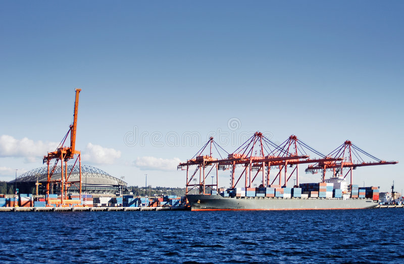 De containerterminal van Seattle stock foto's