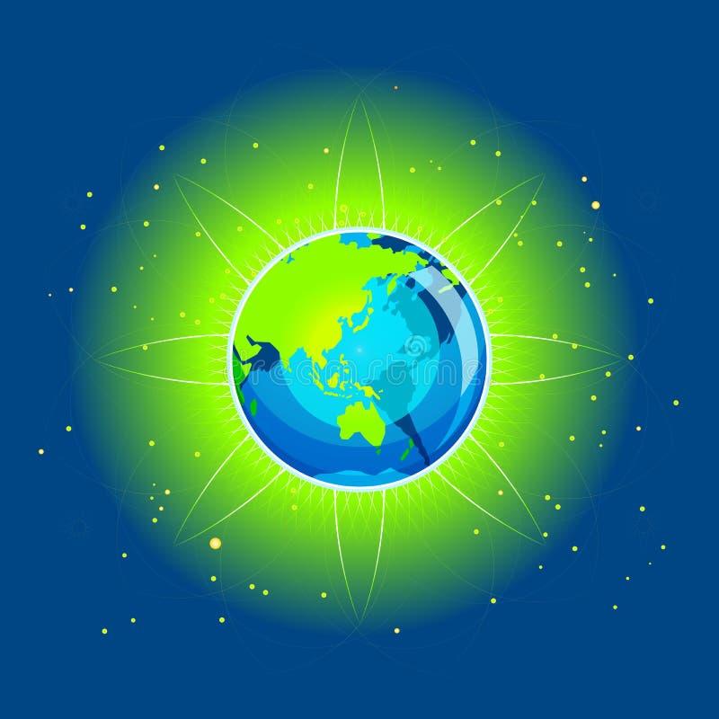 De Continenten van Azië van de Straal van de aarde vector illustratie
