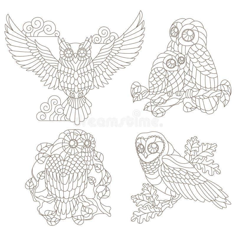 De contour met illustraties van gebrandschilderd glaselementen wordt geplaatst met uilen die op boom zitten vertakt zich, donkere vector illustratie