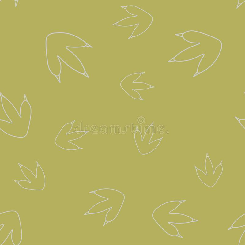De contour naadloos patroon van de dinosaurusvoetafdruk vector illustratie
