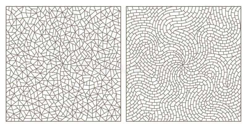 De contour plaatste met abstract achtergrondcontourgebrandschilderd glas, imitatie van fijn gebroken glas, rechthoekige beelden vector illustratie