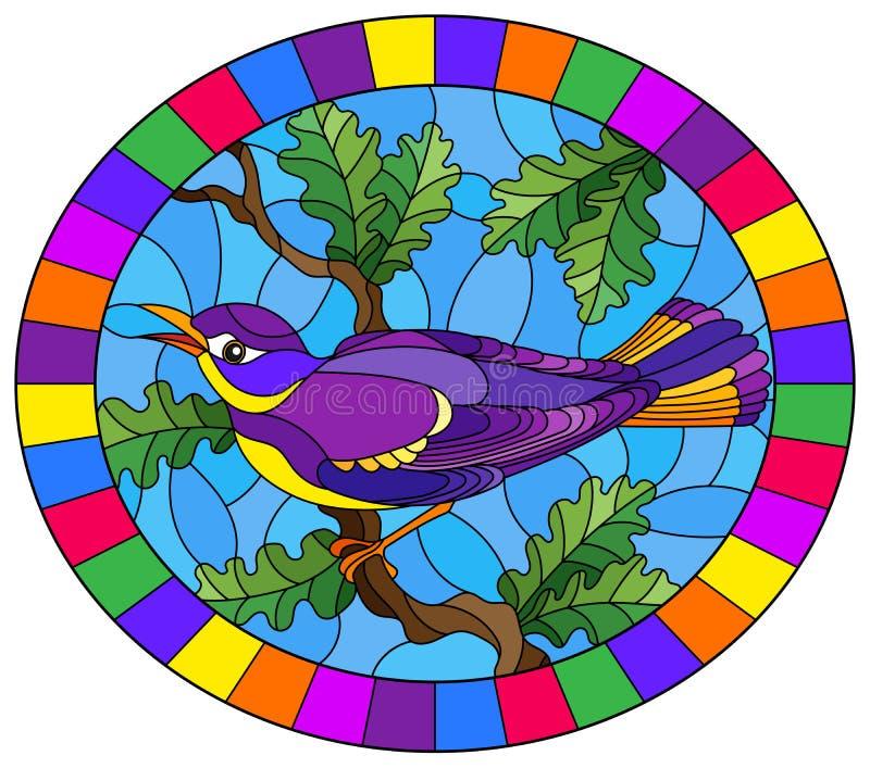 De contour plaatste met een mooie heldere purpere vogel op een achtergrond van tak van boom en hemel, ovaal beeld in helder kader royalty-vrije illustratie
