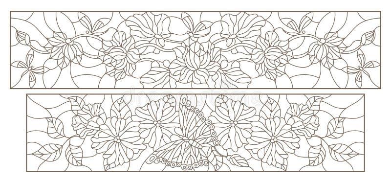 De contour plaatste met illustraties in gebrandschilderd glasstijl met bloemen, vlinders en libellen, horizontale beelden, donker stock illustratie