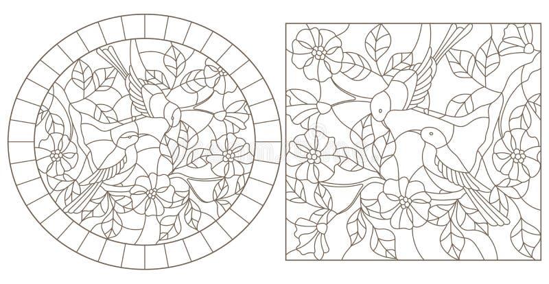 De contour plaatste met illustraties in gebrandschilderd glasstijl met vogels op de takken van een bloeiende installatie, donkere vector illustratie