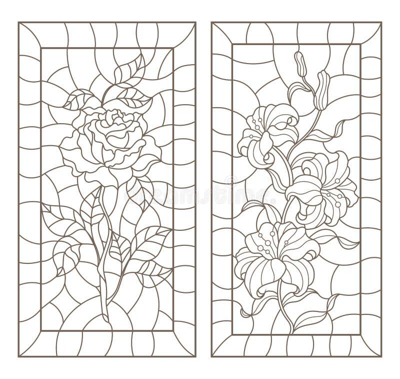 De contour plaatste met illustraties van gebrandschilderd glas met bloemen, lelies en rozen in kaders, donkere contouren op een w stock illustratie