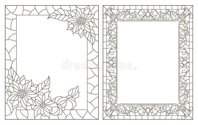 De contour plaatste met illustraties van gebrandschilderd glas met bloemenkader, donkere overzichten op witte achtergrond royalty-vrije illustratie