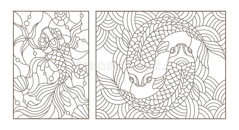 De contour plaatste met illustraties van gebrandschilderd glas met gouden vissen, zwarte contour op witte achtergrond stock illustratie