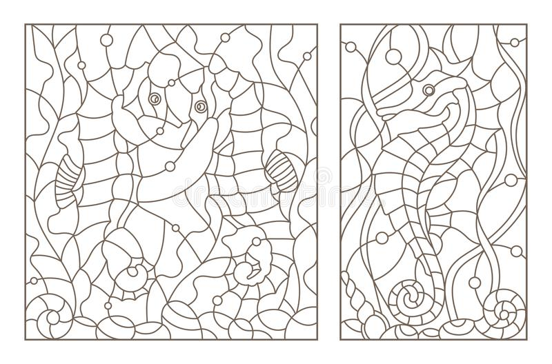 De contour plaatste met illustraties van gebrandschilderd glas met zeepaardjes op een achtergrond van zeewier, donker overzicht o royalty-vrije illustratie
