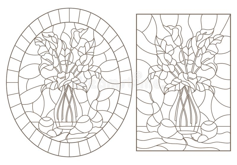 De contour plaatste met illustraties van gebrandschilderd glasvensters met nog lifes, boeketten van Callas en peren, donkere cont stock illustratie