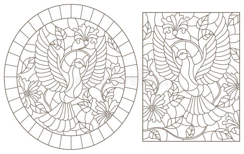 De contour plaatste met illustraties van gebrandschilderd glasvensters met vliegende duiven op een achtergrond van kleuren, donke stock illustratie