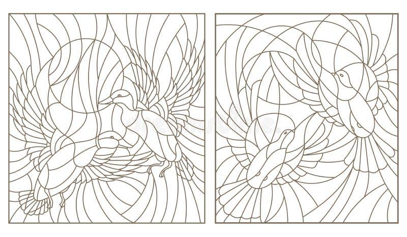 De contour plaatste met illustraties van het paar van gebrandschilderd glasvogels duiven en eenden in de hemel en de zon royalty-vrije illustratie