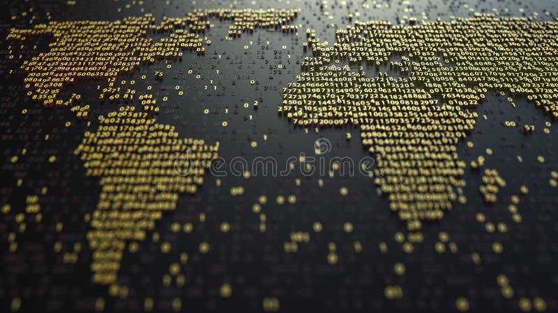 De contour van de wereldkaart van gouden aantallen wordt gemaakt dat Moderne digitale technologie, economische globalisering of g stock foto's