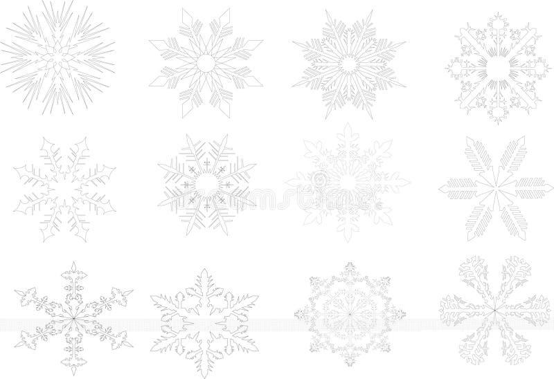 De contouren van de sneeuwvlok royalty-vrije illustratie