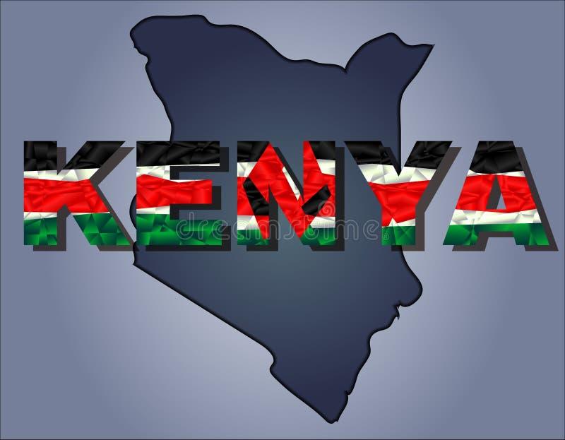 De contouren van grondgebied van Kenia en het woord van Kenia in kleuren van de nationale vlag royalty-vrije illustratie