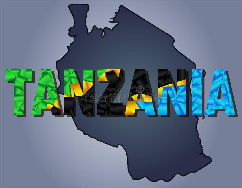De contouren van grondgebied van Tanzania en het woord van Tanzania in kleuren van de nationale vlag vector illustratie