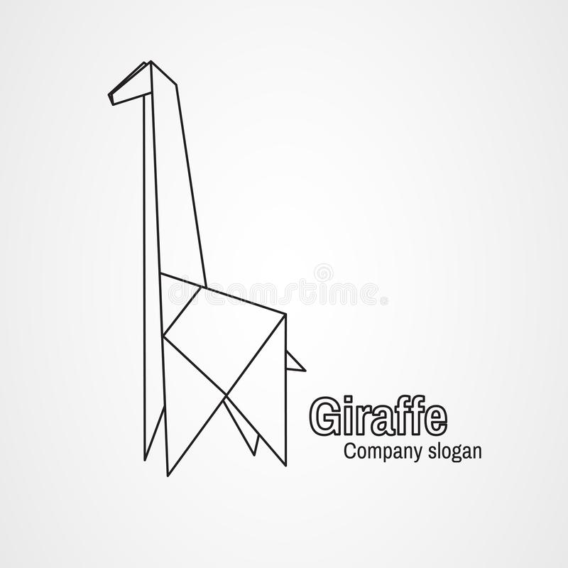 De contourgiraf van het origamiembleem stock illustratie