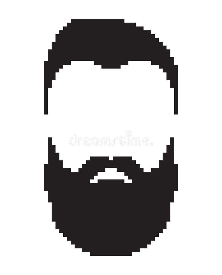 De contourmensen zien onder ogen Het portret van de gebaarde en snormens ` s, zwarte kleur vector illustratie