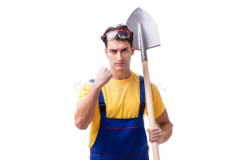De contractant in blauwe overtrekken met spade op witte achtergrond stock afbeelding