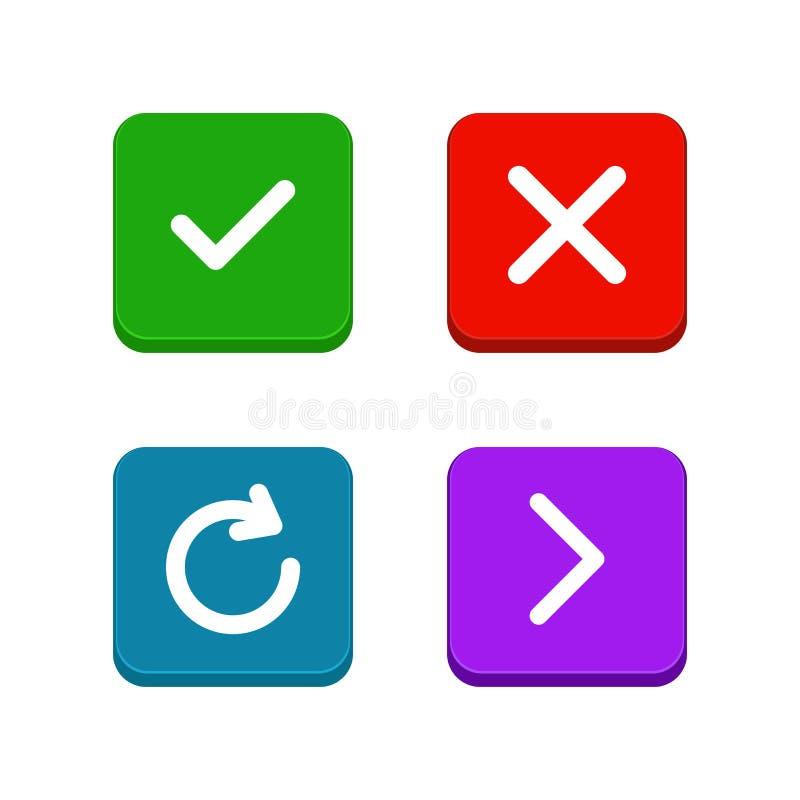 De controle, schrapt of sluit, verfrist zich, pijlpictogrammen die in vlakke en lijnstijl worden geplaatst Reeks knopen voor webs vector illustratie
