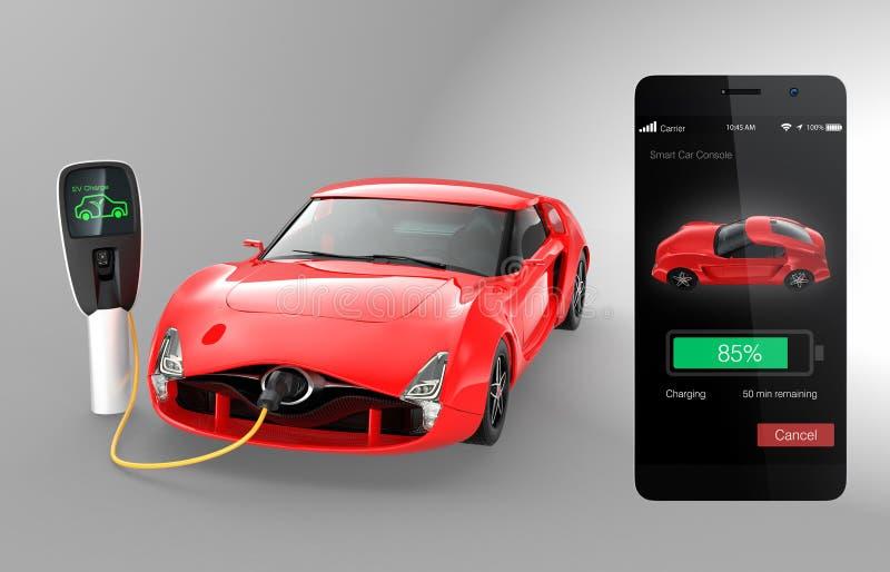 De controle van elektrische auto ladende staat door slimme telefoon app vector illustratie